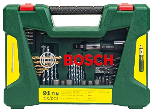 bosch diy 91tlg bohrer und bit set v line titanium zum bohren und schrauben in holz stein und. Black Bedroom Furniture Sets. Home Design Ideas